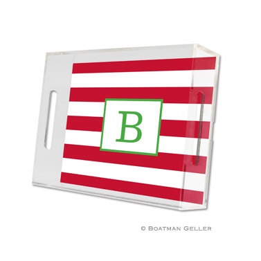 Awning Stripe Red Holiday Tray