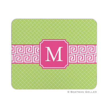 Greek Key Band Pink Mouse Pad