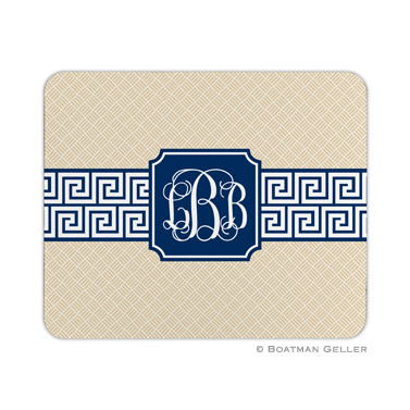 Greek Key Band Navy Mouse Pad by Boatman Geller