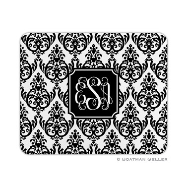 Madison Damask White with Black Mouse Pad by Boatman Geller