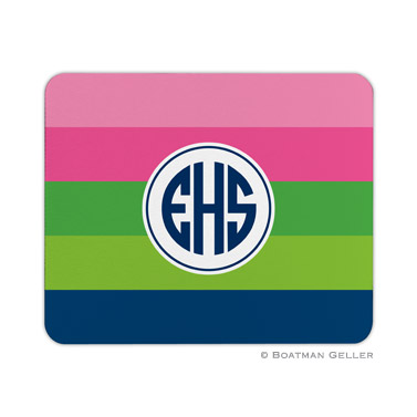 Bold Stripe Pink, Green & Navy Mouse Pad