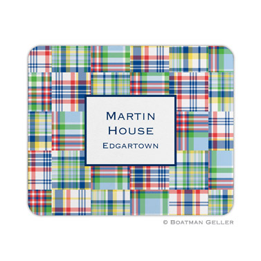 Madras Patch Blue Mouse Pad by Boatman Geller