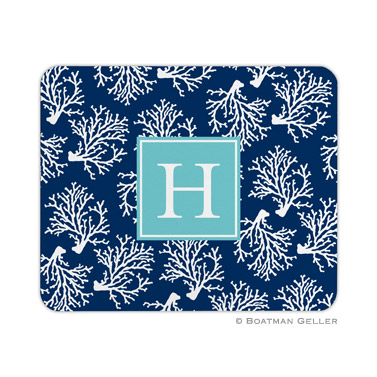 Coral Repeat Navy Mouse Pad by Boatman Geller