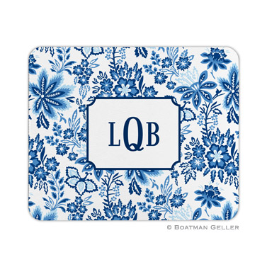 Classic Floral Blue Mouse Pad by Boatman Geller