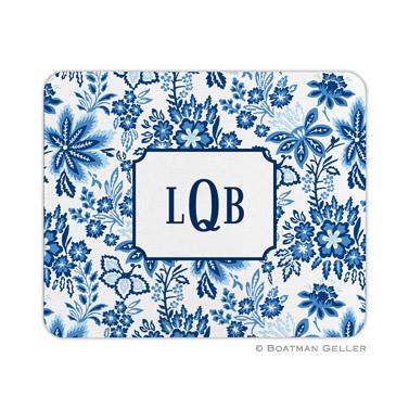 Classic Floral Blue Mouse Pad