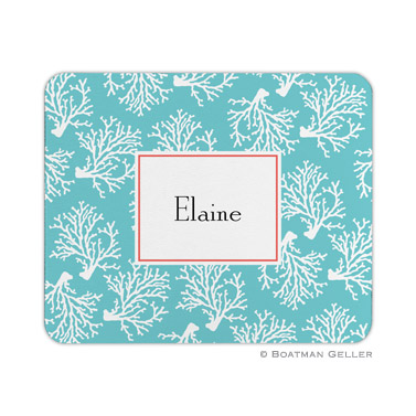 Coral Repeat Teal Mouse Pad by Boatman Geller