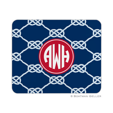 Nautical Knot Navy Mouse Pad