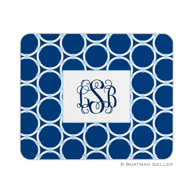 Bamboo Rings Navy Mouse Pad
