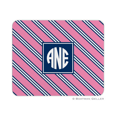 Repp Tie Pink & Navy Mouse Pad by Boatman Geller