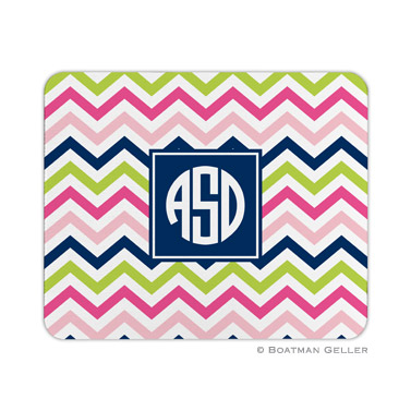Chevron Pink, Navy & Lime Mouse Pad