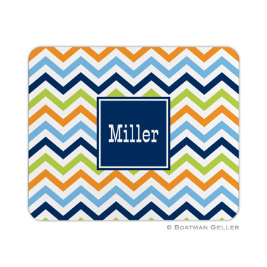 Chevron Blue, Orange & Lime Mouse Pad