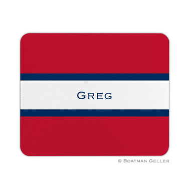 Stripe Red & Navy Mouse Pad
