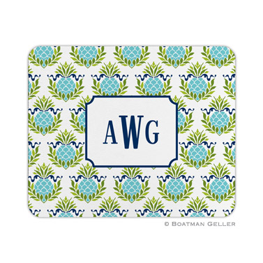 Pineapple Repeat Teal Mouse Pad