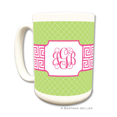 Greek Key Band Pink Coffee Mug