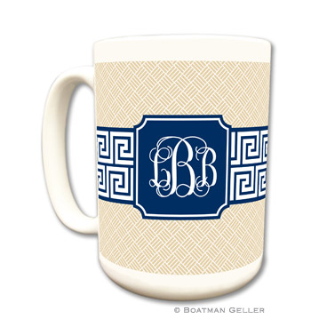 Greek Key Band Navy Coffee Mug