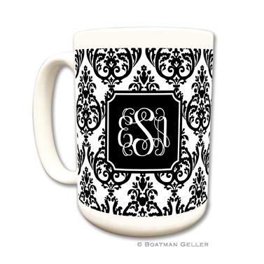 Madison Damask White with Black Coffee Mug
