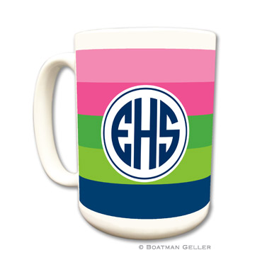 Bold Stripe Pink, Green & Navy Coffee Mug