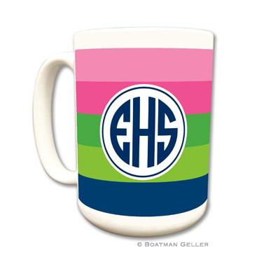 Bold Stripe Pink, Green & Navy Coffee Mug