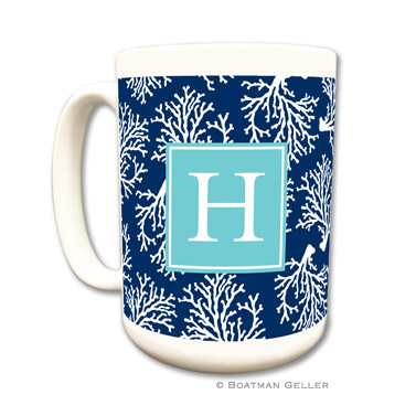 Coral Repeat Navy Coffee Mug