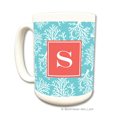 Coral Repeat Teal Coffee Mug