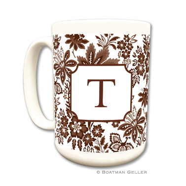 Classic Floral Brown Coffee Mug