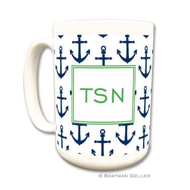 Anchors Navy Coffee Mug