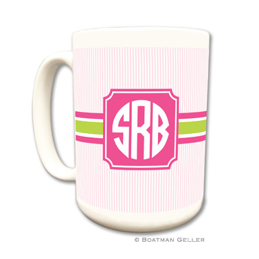 Seersucker Band Pink & Green Coffee Mug by Boatman Geller