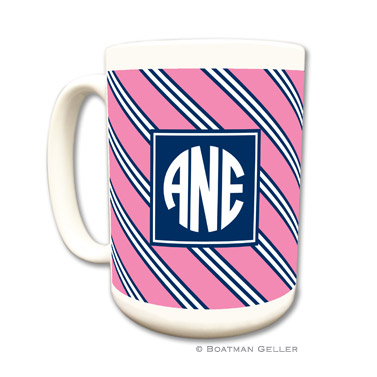 Repp Tie Pink & Navy Coffee Mug by Boatman Geller