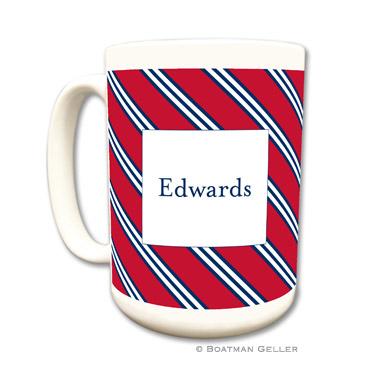 Repp Tie Red & Navy Coffee Mug by Boatman Geller