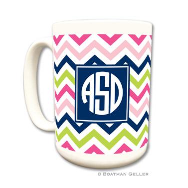 Chevron Pink, Navy & Lime Coffee Mug