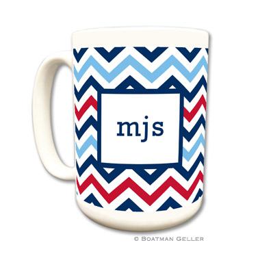 Chevron Blue & Red Coffee Mug