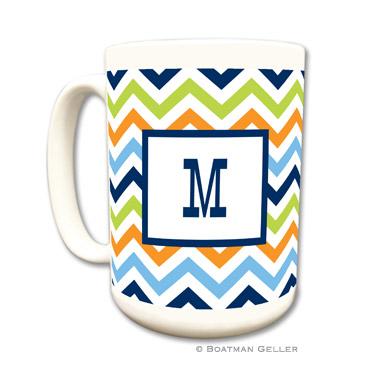 Chevron Blue, Orange & Lime Coffee Mug