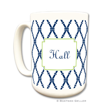 Bamboo Navy & Green Coffee Mug