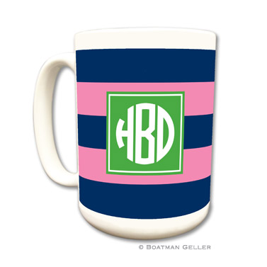 Rugby Navy & Pink Coffee Mug by Boatman Geller