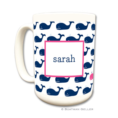 Whale Repeat Navy Coffee Mug by Boatman Geller