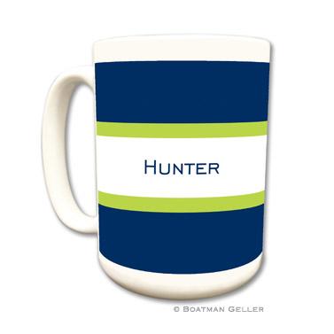 Stripe Navy & Lime Coffee Mug by Boatman Geller