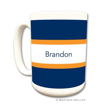 Stripe Navy & Tangerine Coffee Mug by Boatman Geller