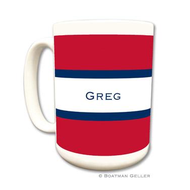 Stripe Red & Navy Coffee Mug by Boatman Geller