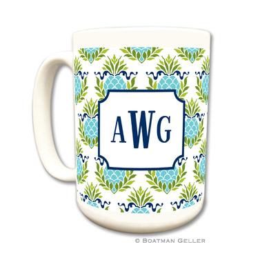 Pineapple Repeat Teal Coffee Mug by Boatman Geller