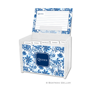Classic Floral Blue Recipe Box