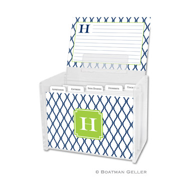 Bamboo Navy & Green Recipe Box