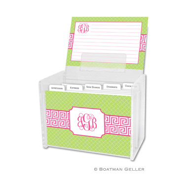 Greek Key Band Pink Recipe Box