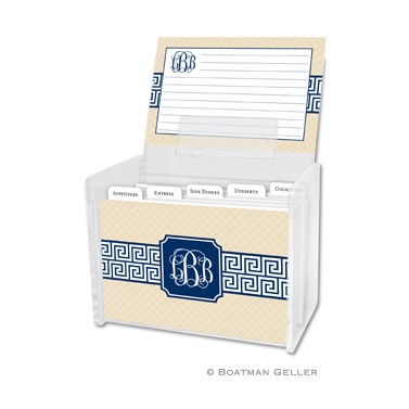 Greek Key Band Navy Recipe Box