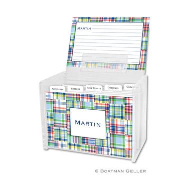 Madras Patch Blue Recipe Box