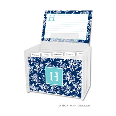 Coral Repeat Navy Recipe Box