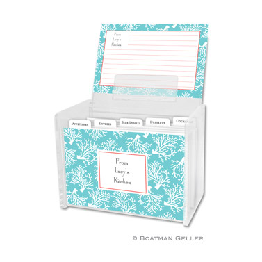 Coral Repeat Teal Recipe Box
