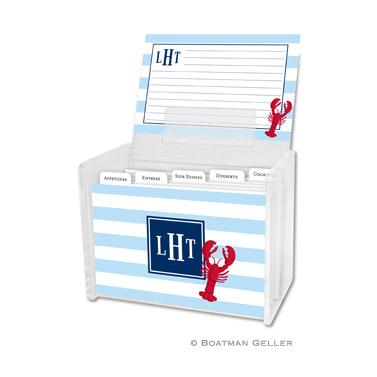 Stripe Lobster Recipe Box