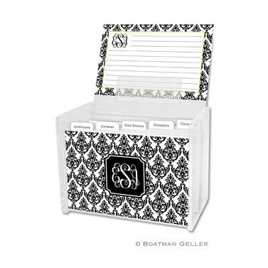 Madison Damask White with Black Recipe Box