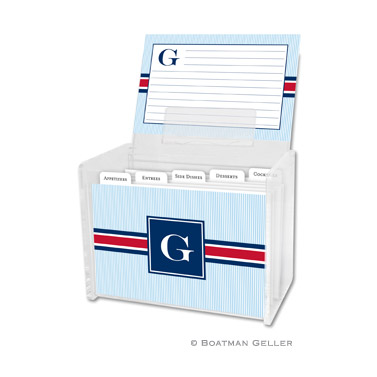 Seersucker Band Red & Navy Recipe Box