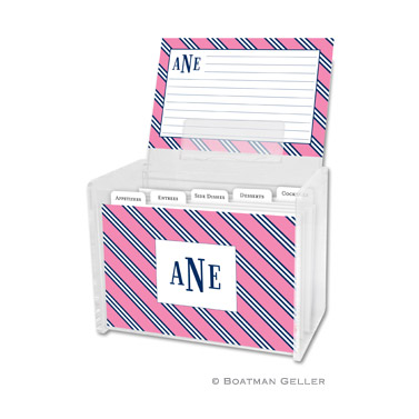 Repp Tie Pink & Navy Recipe Box